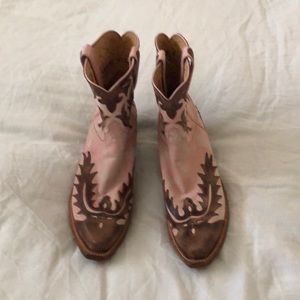 Hand made Lucchese boots.  Never worn.  Brn/pink